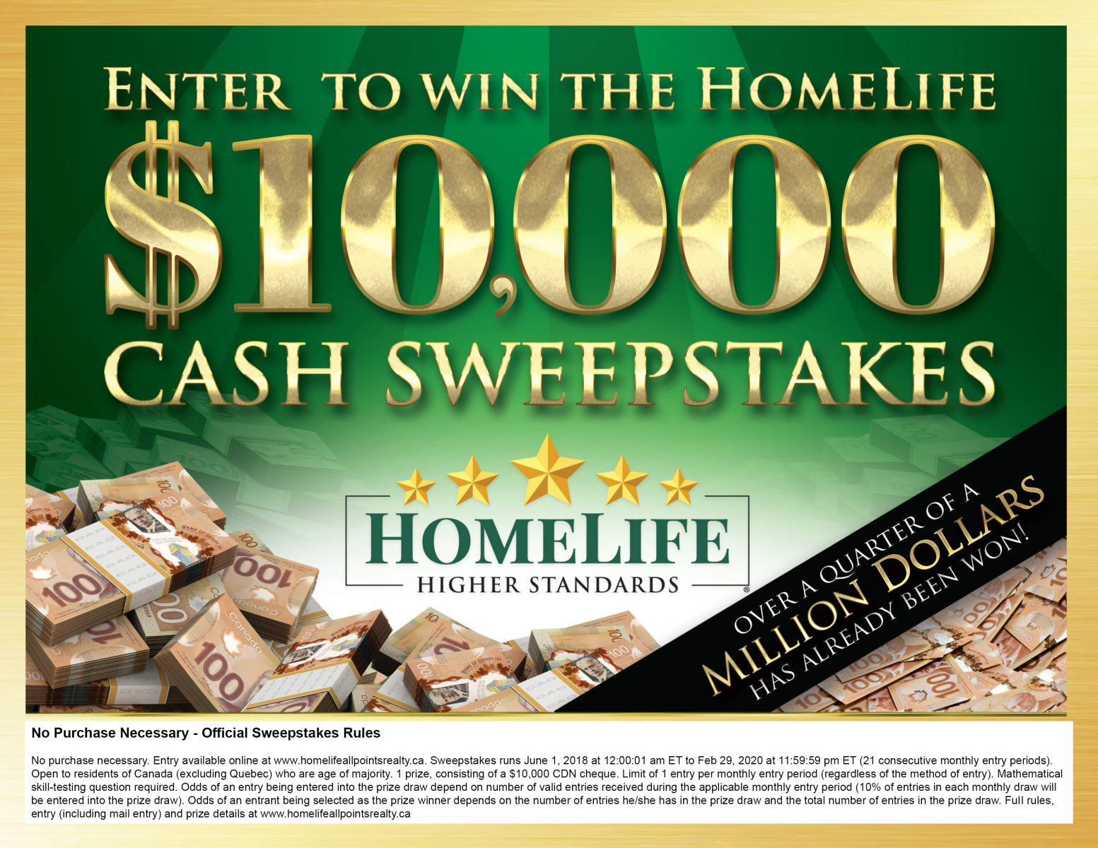 $10,000 SWEEPSTAKES   HomeLife All Points Realty Inc , Brokerage*